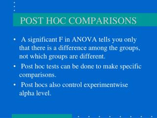 POST HOC COMPARISONS