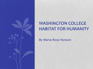 Washington College Habitat for Humanity