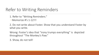 Refer to Writing Reminders