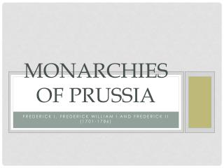 Monarchies of Prussia