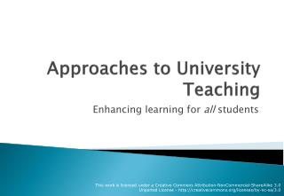 Approaches to University Teaching