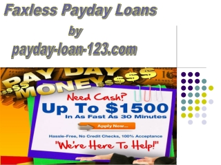 Faxless Payday Loan