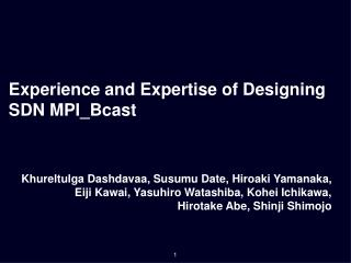 Experience and Expertise of Designing SDN MPI_Bcast