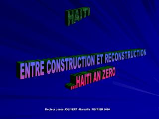 HAITI PERSPECTIVES POUR EVITER LE PIRE