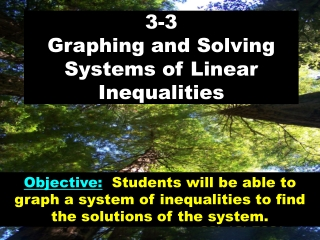3.3:  Graphing and Solving Systems  of Linear Inequalities