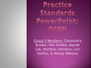 Practice Standards PowerPoint;  QSEN