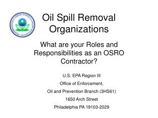 Oil Spill Removal Organizations