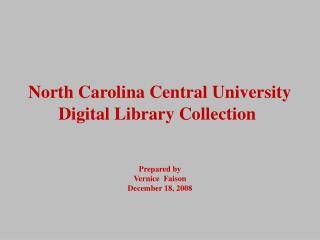 North Carolina Central University Digital Library Collection