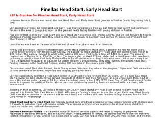 Pinellas Head Start, Early Head Start