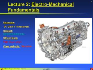 Lecture 2:  Electro-Mechanical Fundamentals