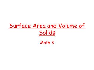 Surface Area and Volume of Solids