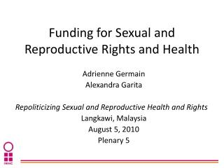 Funding for Sexual and Reproductive Rights and Health