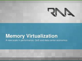 Memory Virtualization A new scale in performance,  QoS  and data center economics