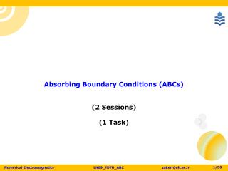 Absorbing Boundary Conditions ( ABCs) (2 Sessions ) (1 Task)