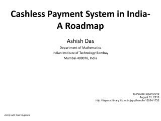 Cashless Payment System in India- A Roadmap