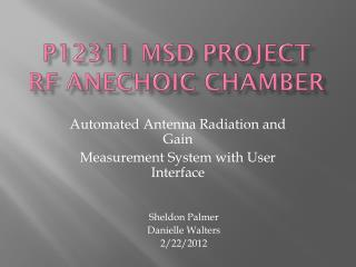 P12311 MSD Project RF  Anechoic Chamber
