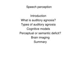 Speech perception