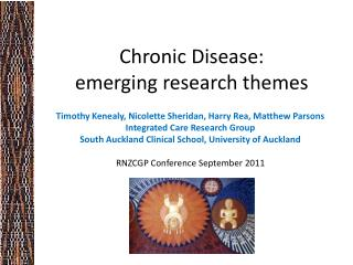 Chronic Disease: emerging research themes
