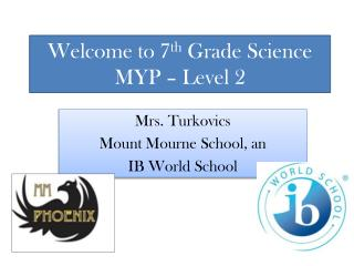 Welcome to 7 th  Grade Science MYP – Level 2