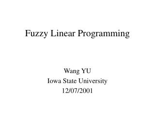Fuzzy Linear Programming