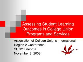 Assessing Student Learning Outcomes in College Union Programs and Services