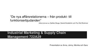 Industrial Marketing & Supply Chain Management 722A29
