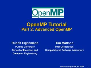 OpenMP Tutorial Part 2: Advanced OpenMP