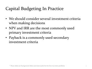 Capital Budgeting In Practice