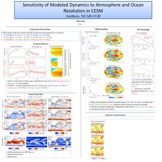 Sensitivity of Modeled Dynamics to Atmosphere and Ocean Resolution in CESM Aurthors , NCAR CGD