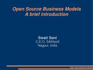 Open Source Business Models A brief introduction