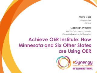 Achieve OER Institute: How Minnesota and Six Other States are Using OER