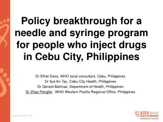 Dr Ethel  Dano , WHO local  consultant, Cebu, Philippines