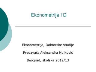 Ekonometrija 1D