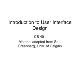 Introduction to User Interface Design