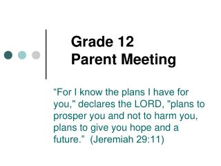 Grade 12  Parent Meeting