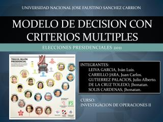 MODELO DE DECISION CON CRITERIOS MULTIPLES