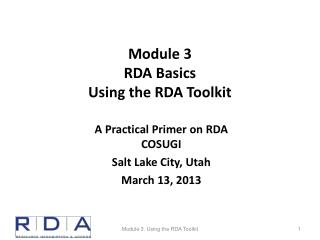 Module 3 RDA Basics Using the RDA Toolkit