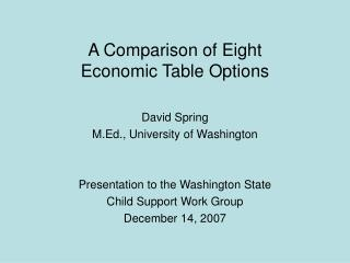 A Comparison of Eight  Economic Table Options