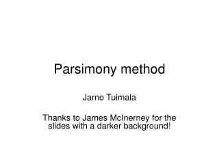 Parsimony method