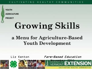a Menu for Agriculture-Based Youth Development