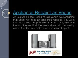 Washing Machine Repair Las Vegas