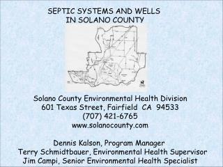 SEPTIC SYSTEMS AND WELLS  IN SOLANO COUNTY