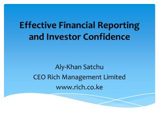 Effective Financial Reporting and Investor Confidence