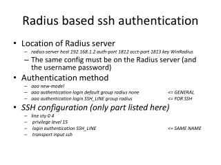 Radius  based ssh authentication