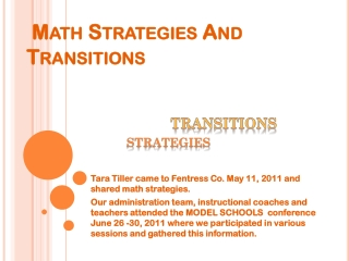 Math Strategies And Transitions
