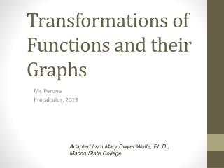 Transformations of Functions and their Graphs