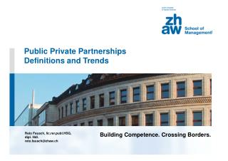 Public Private Partnerships Definitions and Trends