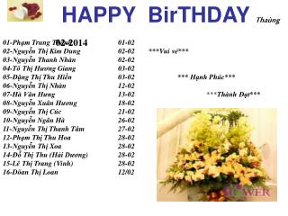 HAPPY  BirTHDAY Thaùng 02-2014