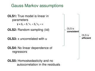 Gauss Markov assumptions