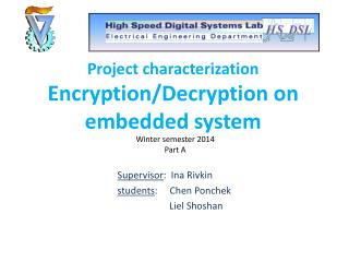 Project characterization Encryption/Decryption on embedded system